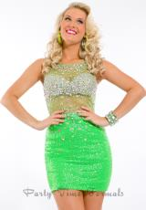 Party Time Formals 6318.  Available in Lime, Pacific Blue