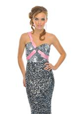 Precious Formals P8707.  Available in Pewter/Pink
