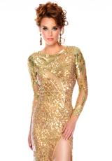 Precious Formals L9027.  Available in Nude/Gold, Nude/Silver