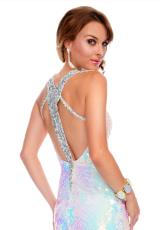 Precious Formals P9008.  Available in Crystal Champagne, Iridescent White/Silver, Royal/Turquoise/Silver