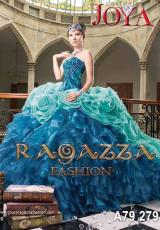 Ragazza A79-279.  Available in Aqua/Royal, Blue Floral Print, Coral/Red, Emerald Green, Fuchsia, Fuchsia Floral Print, Gold, Red, Rose Pink, Rose Pink/Purple, Royal Blue, Silver