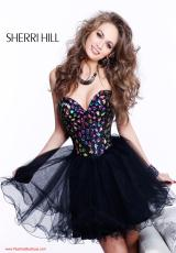 Sherri Hill Short 1530.  Available in Black/Multi, Nude/Multi, Purple/Multi