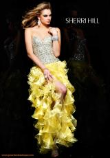 Sherri Hill 2463SPC.  Available in Coral/Silver, Lime/Silver, Yellow/Silver
