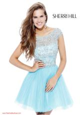 Sherri Hill Short 2814.  Available in Blush/Silver, Coral, Light Pink, Navy/Multi, Nude, Yellow/Silver