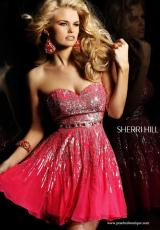 Sherri Hill Short 8413.  Available in Aqua/Silver, Black/Silver, Brown/Silver, Green/Gold/Silver, Ivory/Silver, Magenta/Silver, Navy/Silver, Purple/Silver, Royal/Silver, Strawberry