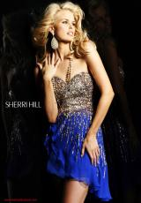 Sherri Hill Short 8443.  Available in Black, Fuchsia, Green, Ivory, Lilac, Nude, Peach, Pink, Royal, Strawberry, Yellow