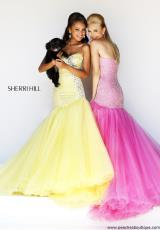 Sherri Hill 11105.  Available in Aqua, Coral, Nude, Pink, White, Yellow