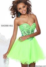 Sherri Hill Short 21101.  Available in Aqua/Pink, Blue, Burgundy, Hot Pink, Lime, Nude/Ab, Pink, Plum, Purple, Royal, Seafoam, Silver Mist, Turquoise