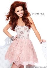Sherri Hill Short 21149.  Available in Blush, Ivory/Nude, Light Blue/Nude, Light Green/Nude, Nude, Pink/Nude