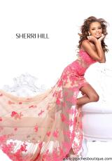 Sherri Hill 21161.  Available in Aqua/Nude, Black/Nude, Coral/Nude, Fuchsia/Nude, Ivory/Nude, Red/Nude