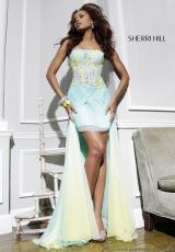 Sherri Hill 21353.  Available in Aqua/Yellow, Pink/Coral