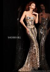 Sherri Hill 2813.  Available in Black/Gunmetal, Ivory/Gold/Silver, Navy/Gunmetal, Nude/Silver