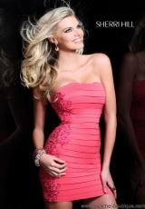 Sherri Hill Short 2979.  Available in Aqua, Black, Coral, Dark Nude, Fuchsia, Nude, Purple
