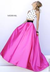 Sherri Hill 32210.  Available in Ivory/Black/Fuchsia