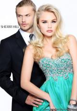 Sherri Hill 3869.  Available in Green, Light Purple, Peach, Royal, Slate