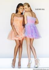 Sherri Hill Short 11062.  Available in Aqua/Peach, Ivory/Nude, Nude/Peach, Periwinkle/Pink, Pink/Green, Pink/Peach, Yellow/Aqua