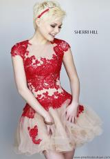 Sherri Hill Short 11153.  Available in Coral/Nude, Light Blue/Nude, Red/Nude