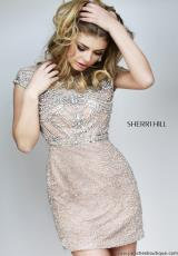 Sherri Hill Short 11164.  Available in Black, Gunmetal, Nude/Silver