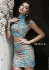 Sherri Hill Short 11174.  Available in Aqua/Nude, Coral/Nude, Ivory/Nude