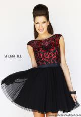 Sherri Hill Short 21167.  Available in Aqua/Green, Aqua/Nude, Black/Red/Black, Blush, Emerald, Light Pink/Pink, Navy/Navy/Gunmetal, Plum, Purple, Silver