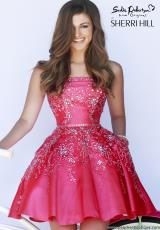 Sherri Hill Short 21362.  Available in Black/Emerald, Ivory/Gold, Periwinkle, Red, Teal