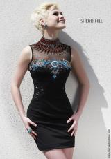 Sherri Hill Short 32004.  Available in Black/Nude/Multi, Ivory/Multi