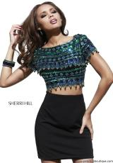Sherri Hill Short 32040.  Available in Black/Emerald
