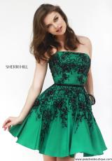 Sherri Hill Short 32045.  Available in Emerald/Black, Red/Black, Royal/Black