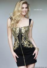 Sherri Hill Short 32051.  Available in Black/Gold, Ivory/Gold, Royal/Gold