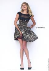 Sherri Hill Short 32111.  Available in Black/Leopard