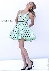 Sherri Hill Short 32238.  Available in Green/Black, Ivory/Black, Pink/Black