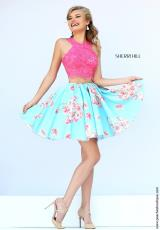 Sherri Hill Short 32245.  Available in Coral/Blue, Coral/Lt Yellow, Pink/Pink Print