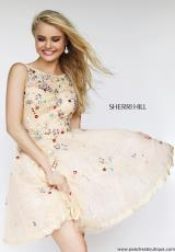 Sherri Hill Short 4305.  Available in Blush/Multi, Ivory/Multi, Light Blue/Multi, Lilac/Multi