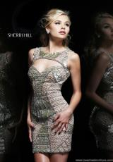 Sherri Hill Short 4307.  Available in Lt. Gold