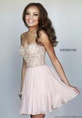 Sherri Hill Short 8548.  Available in Black, Emerald, Fuchsia, Ivory, Nude, Purple, Red, Turquoise