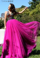 Tarik Ediz 92176.  Available in Fuchsia, Indigo, Ivory