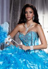 Tiffany Quinceanera 26656.  Available in Ivory/Ivory, Kiwi/Black, Turquoise/Black, Violet/Black, White/White