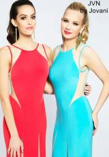 JVN by Jovani JVN21026.  Available in Aqua/Nude , Red/Nude, Yellow/Nude