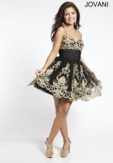 Jovani Cocktail 88033.  Available in Black/Gold