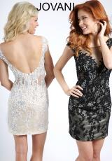 Jovani Cocktail 99944.  Available in Black/Nude, White/Nude