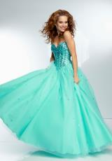 Mori Lee 95113.  Available in Aqua, Limelight