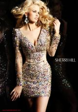 Sherri Hill Short 2946.  Available in Coral/Multi, Nude/Multi, Turquoise/Multi