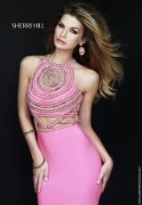 Sherri Hill 11208.  Available in Aqua/Gold, Coral/Gold