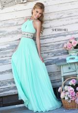 Sherri Hill 11251.  Available in Black/Multi, Light Blue, Light Green, Peach, White