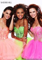 Sherri Hill Short 21101.  Available in Aqua/Pink, Blue, Hot Pink, Ivory, Lime, Nude/Ab, Orange, Pink, Seafoam, Turquoise