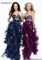 Sherri Hill 21158.  Available in Black/Nude, Fuchsia, Light Blue, Navy/Nude, Plum/Nude