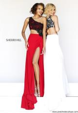 Sherri Hill 21252.  Available in Ivory/Black, Red/Black