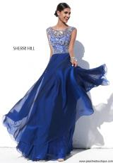 Sherri Hill 32017.  Available in Black, Ivory, Navy, Nude, Periwinkle, Purple, Teal, Wine