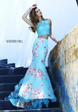 Sherri Hill 32073.  Available in Ivory/Pink Print, Light Blue Print