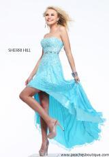 Sherri Hill 8503.  Available in Aqua, Coral, Fuchsia, Lilac, Peach, Pink, White
